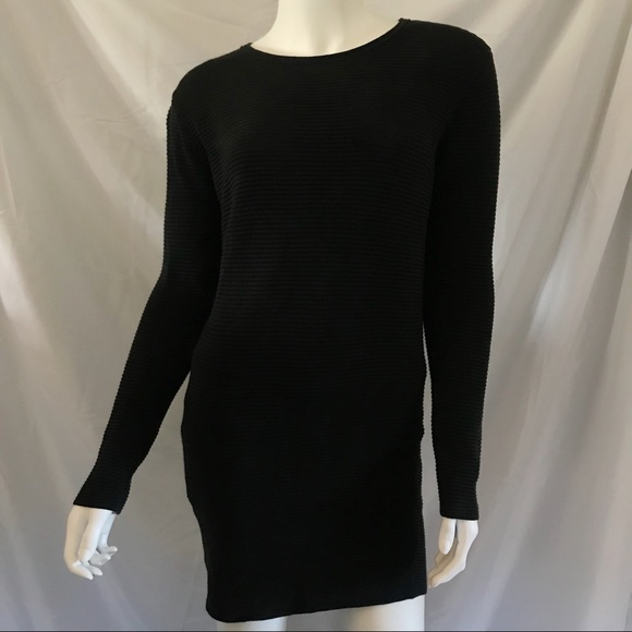 Wilfred Ribbed Black Sweater Dress